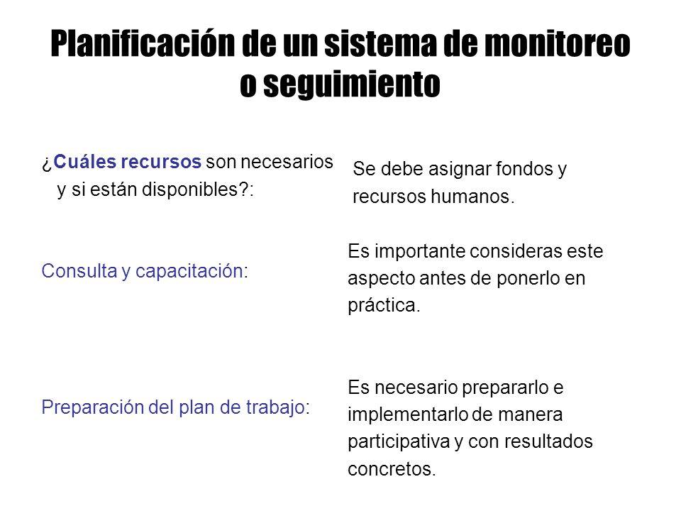 ¿Cuáles recursos son necesarios y si están disponibles?: Consulta y capacitación: Preparación del plan de trabajo: Planificación de un sistema de moni