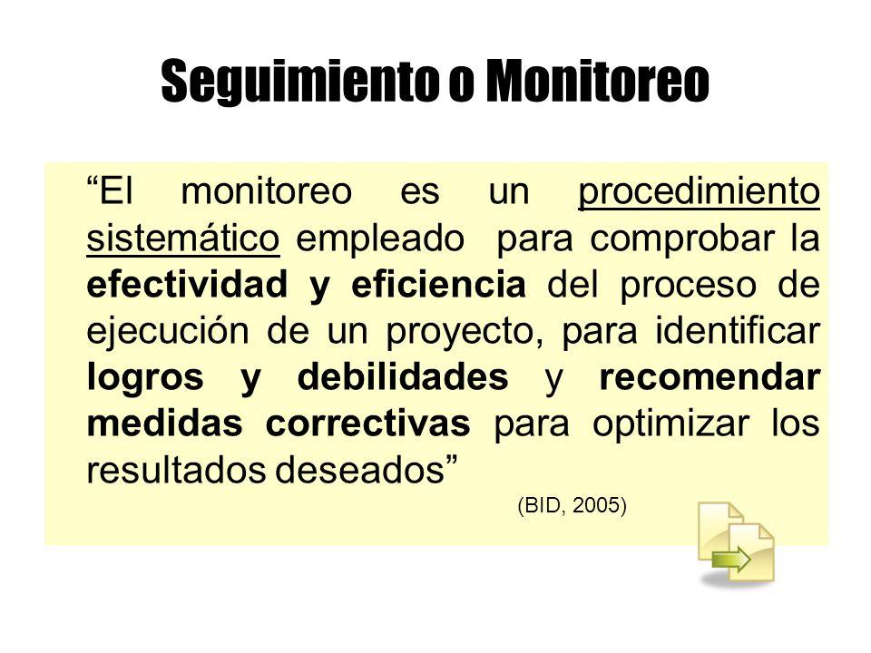 El monitoreo es un procedimiento sistemático empleado para comprobar la efectividad y eficiencia del proceso de ejecución de un proyecto, para identif