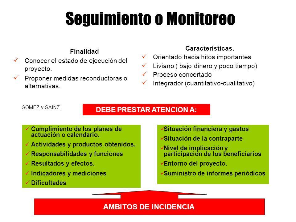 Requisitos del monitoreo Los objetivos expresados en términos de resultados concretos, deben permitir establecer indicadores meta a lograrse en ciertos momentos.