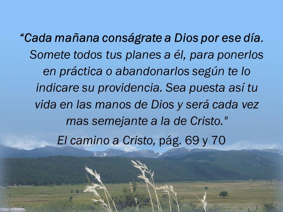 Cada mañana conságrate a Dios por ese día. Somete todos tus planes a él, para ponerlos en práctica o abandonarlos según te lo indicare su providencia.