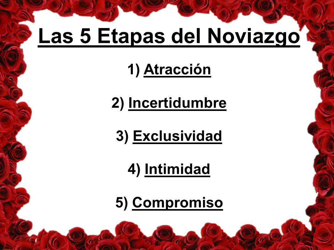 Las 5 Etapas del Noviazgo 1) Atracción 2) Incertidumbre 3) Exclusividad 4) Intimidad 5) Compromiso