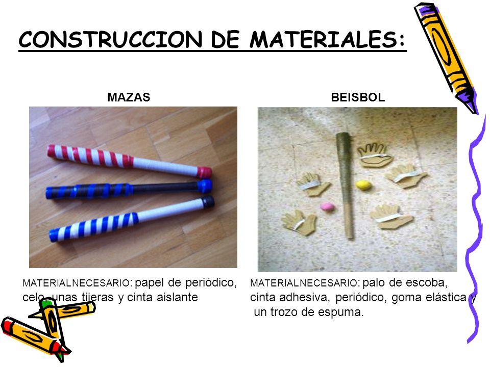 CONSTRUCCION DE MATERIALES: MAZASBEISBOL MATERIAL NECESARIO : papel de periódico, celo, unas tijeras y cinta aislante MATERIAL NECESARIO : palo de escoba, cinta adhesiva, periódico, goma elástica y un trozo de espuma.