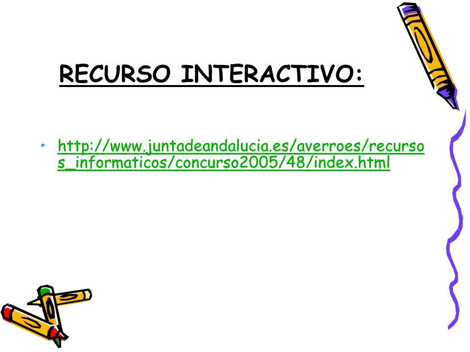 RECURSO INTERACTIVO: http://www.juntadeandalucia.es/averroes/recurso s_informaticos/concurso2005/48/index.htmlhttp://www.juntadeandalucia.es/averroes/recurso s_informaticos/concurso2005/48/index.html http://www.juntadeandalucia.es/averroes/recurso s_informaticos/concurso2005/48/index.htmlhttp://www.juntadeandalucia.es/averroes/recurso s_informaticos/concurso2005/48/index.html