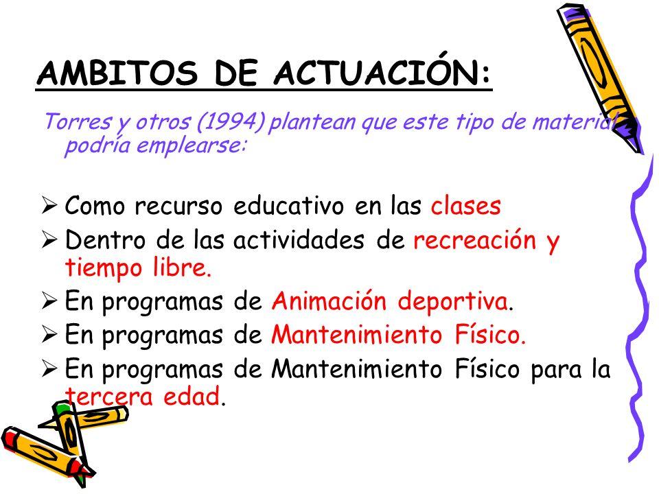 AMBITOS DE ACTUACIÓN: Torres y otros (1994) plantean que este tipo de material podría emplearse: Como recurso educativo en las clases Dentro de las actividades de recreación y tiempo libre.