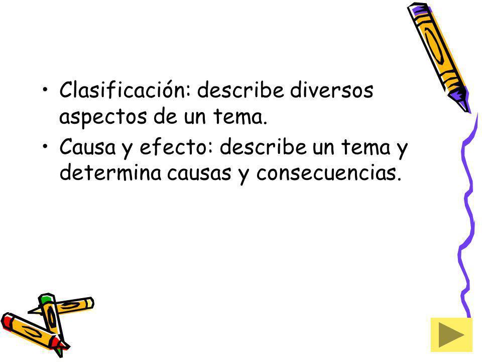 Clasificación: describe diversos aspectos de un tema. Causa y efecto: describe un tema y determina causas y consecuencias.