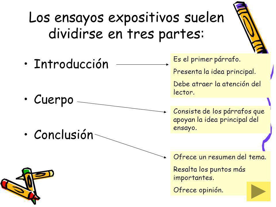 Los ensayos expositivos suelen dividirse en tres partes: Introducción Cuerpo Conclusión Es el primer párrafo. Presenta la idea principal. Debe atraer