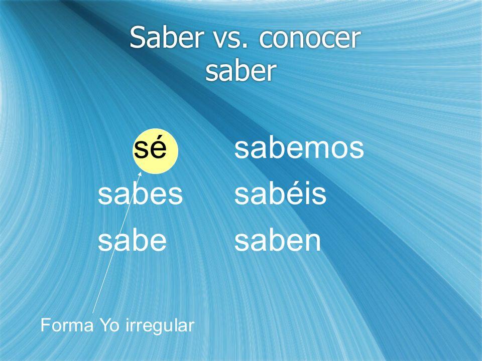 Saber = Saber un hecho, dato (to know a fact, to know data) Sabemos que Rodolfo y Luisa son estudiantes.