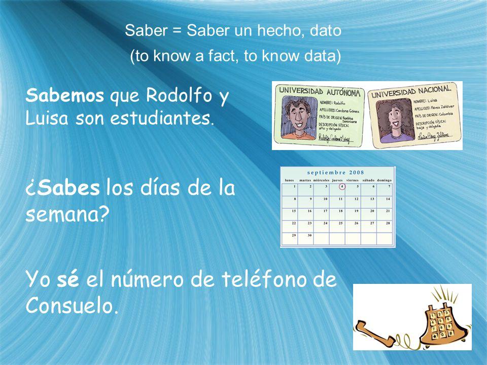 Saber = Saber un hecho, dato (to know a fact, to know data) Sabemos que Rodolfo y Luisa son estudiantes. ¿Sabes los días de la semana? Yo sé el número