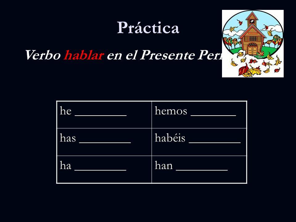 Presente Perfecto del verbo estudiar hehemos hashabéis hahan estudiado estudiado