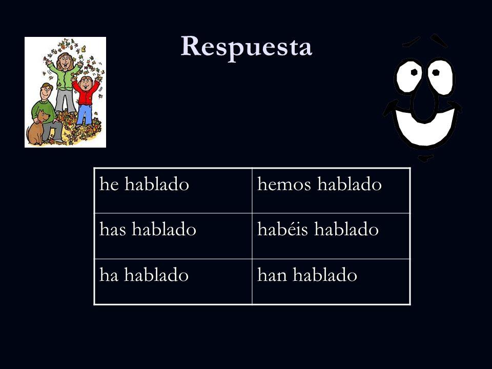 Práctica he ________ hemos _______ has ________ habéis ________ ha ________ han ________ Verbo hablar en el Presente Perfecto