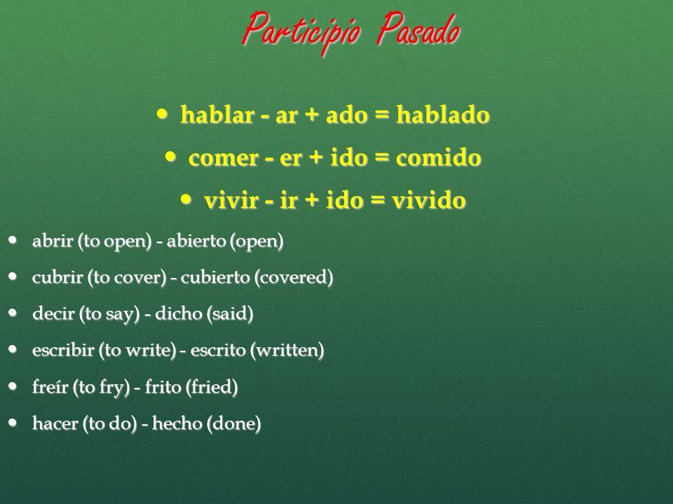 Participio Pasado morir (to die) - muerto (dead) morir (to die) - muerto (dead) poner (to put) - puesto (put) poner (to put) - puesto (put) resolver (to resolve) - resuelto (resolved) resolver (to resolve) - resuelto (resolved) romper (to break) - roto (broken) romper (to break) - roto (broken) ver (to see) - visto (seen) ver (to see) - visto (seen) volver (to return) - vuelto (returned volver (to return) - vuelto (returned componer – compuesto componer – compuesto describir – descrito describir – descrito devolver - devuelto devolver - devuelto