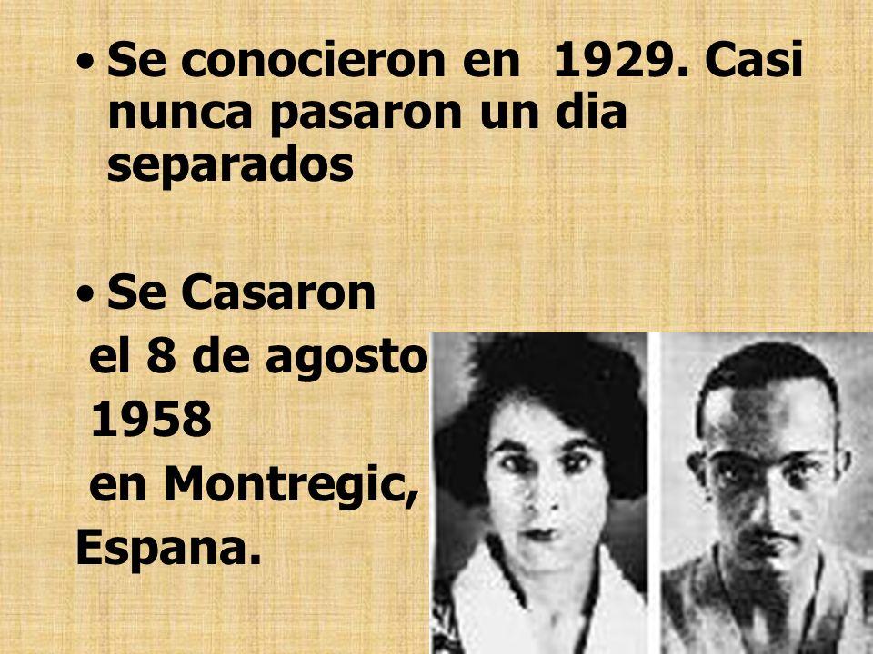 Se conocieron en 1929. Casi nunca pasaron un dia separados Se Casaron el 8 de agosto, 1958 en Montregic, Espana.