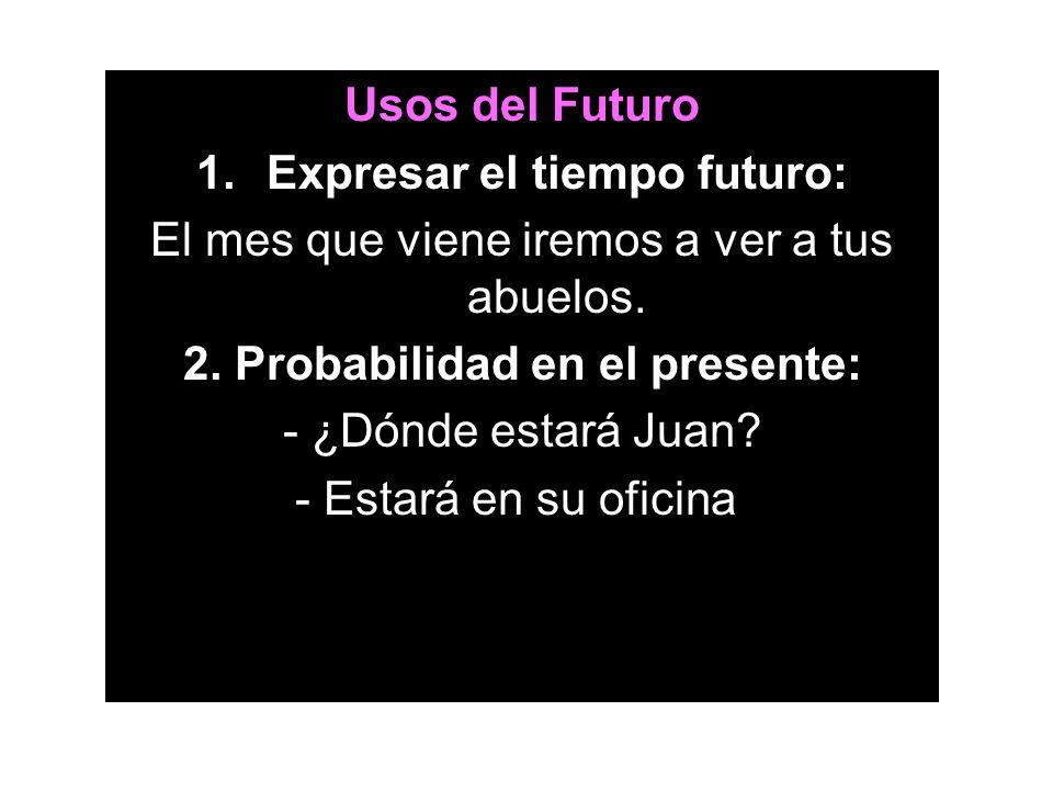 Usos del Futuro 1.Expresar el tiempo futuro: El mes que viene iremos a ver a tus abuelos. 2. Probabilidad en el presente: - ¿Dónde estará Juan? - Esta