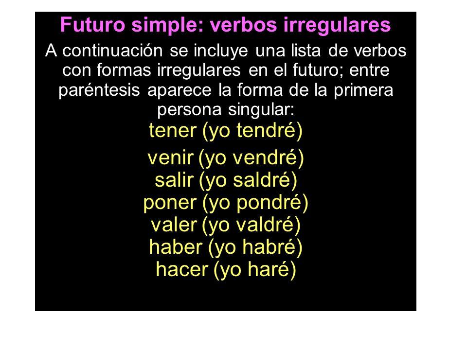Futuro simple: verbos irregulares A continuación se incluye una lista de verbos con formas irregulares en el futuro; entre paréntesis aparece la forma