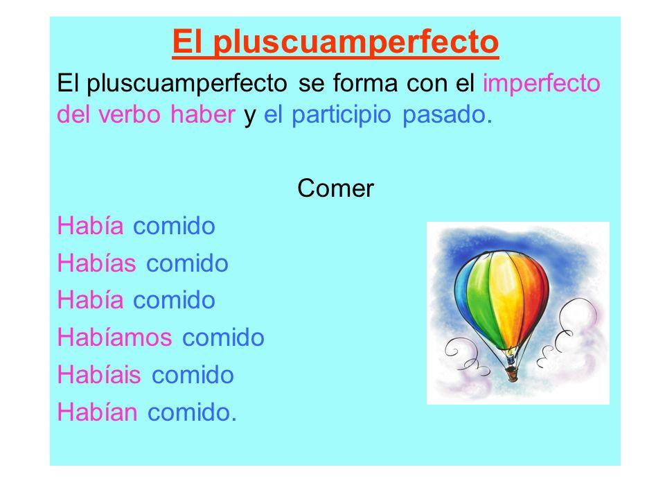 El pluscuamperfecto El pluscuamperfecto se forma con el imperfecto del verbo haber y el participio pasado. Comer Había comido Habías comido Había comi