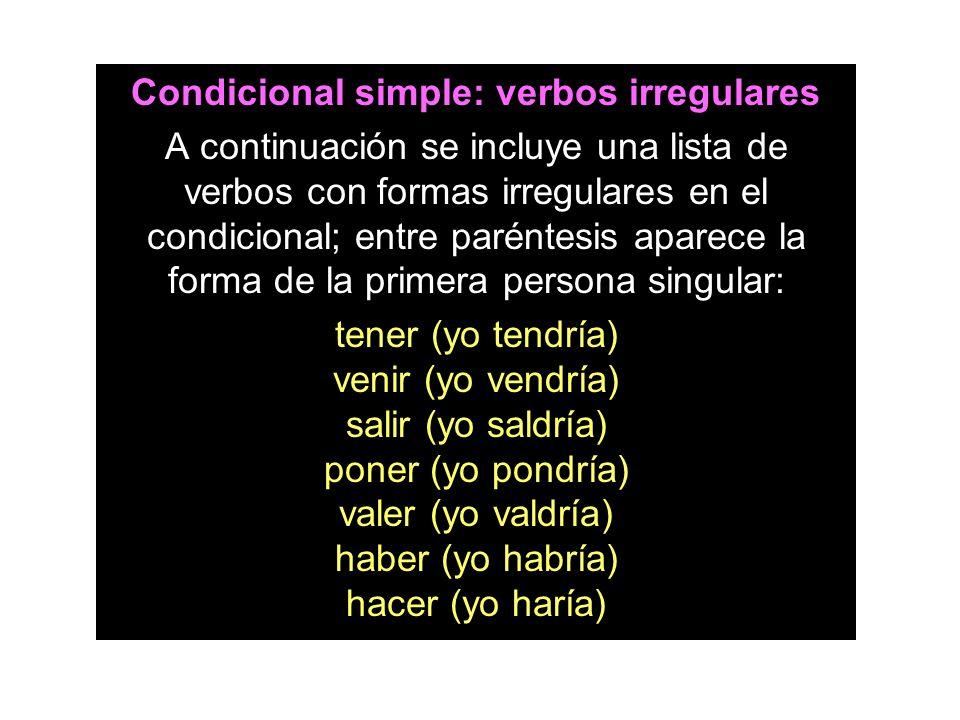 Condicional simple: verbos irregulares A continuación se incluye una lista de verbos con formas irregulares en el condicional; entre paréntesis aparec