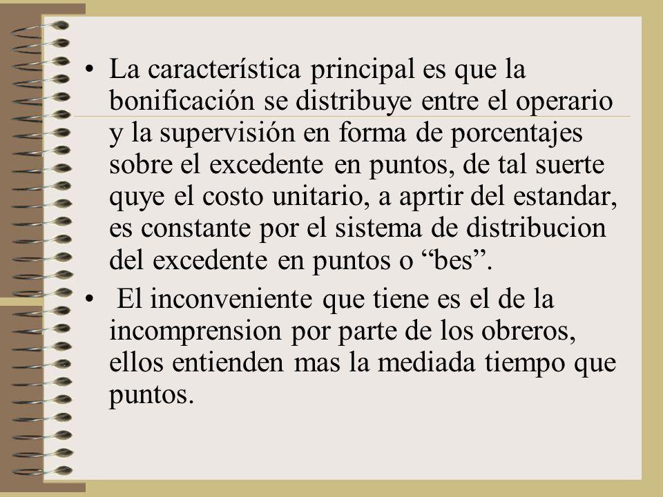 La característica principal es que la bonificación se distribuye entre el operario y la supervisión en forma de porcentajes sobre el excedente en puntos, de tal suerte quye el costo unitario, a aprtir del estandar, es constante por el sistema de distribucion del excedente en puntos o bes.