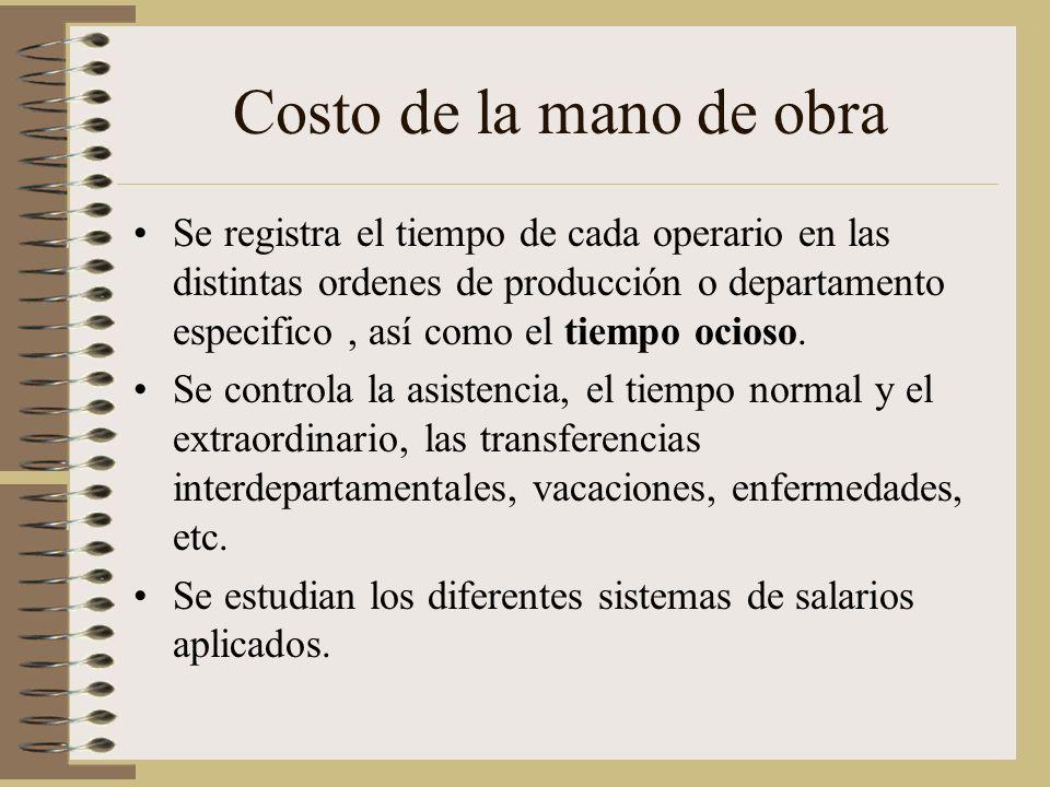 Costo de la mano de obra Se registra el tiempo de cada operario en las distintas ordenes de producción o departamento especifico, así como el tiempo ocioso.