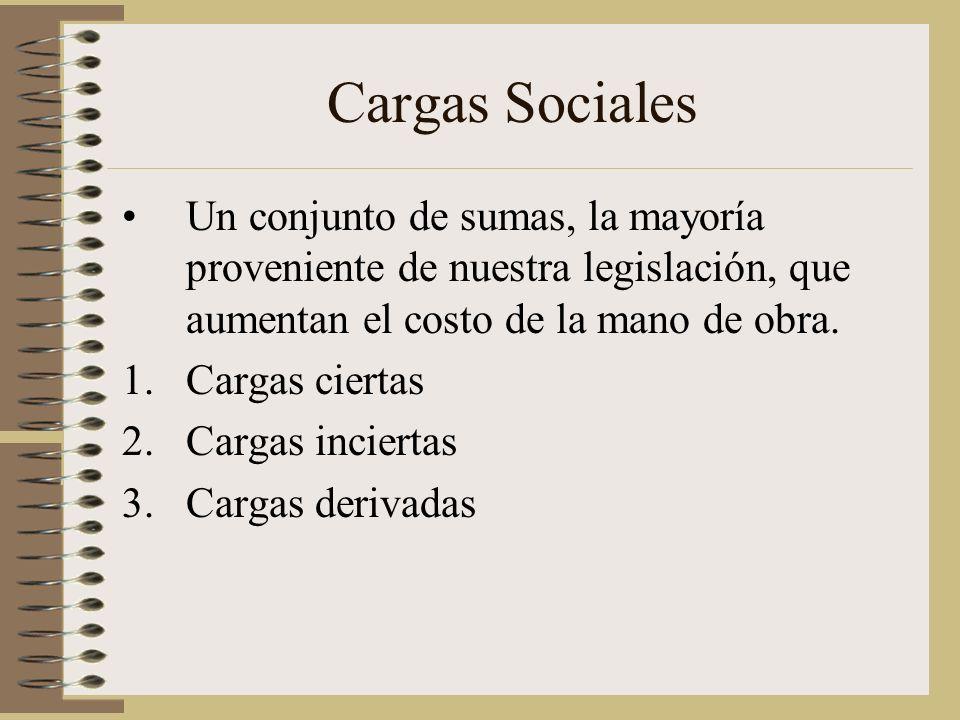 Cargas Sociales Un conjunto de sumas, la mayoría proveniente de nuestra legislación, que aumentan el costo de la mano de obra.