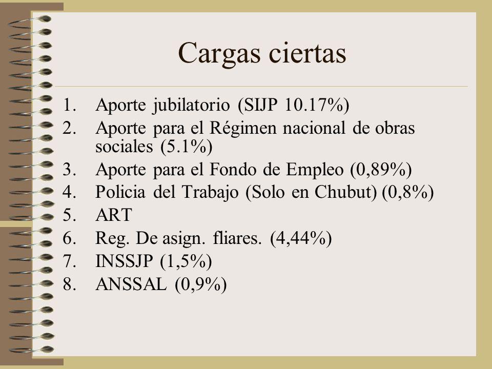 Cargas ciertas 1.Aporte jubilatorio (SIJP 10.17%) 2.Aporte para el Régimen nacional de obras sociales (5.1%) 3.Aporte para el Fondo de Empleo (0,89%) 4.Policia del Trabajo (Solo en Chubut) (0,8%) 5.ART 6.Reg.