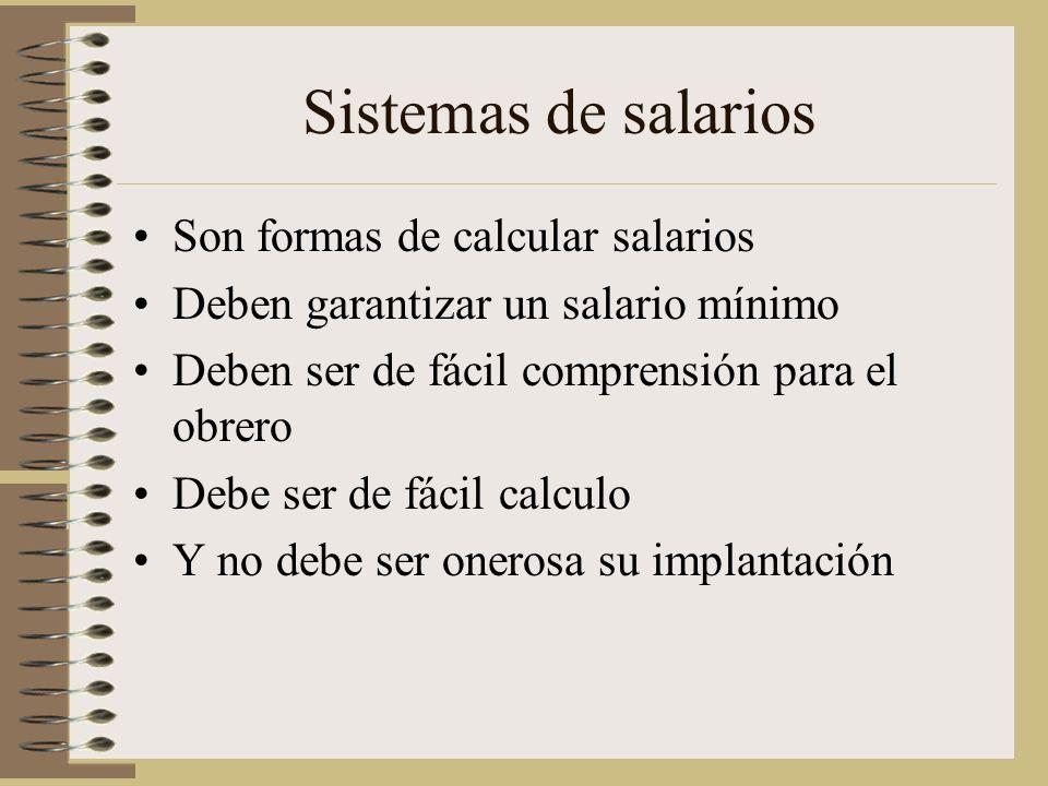 Sistemas de salarios Son formas de calcular salarios Deben garantizar un salario mínimo Deben ser de fácil comprensión para el obrero Debe ser de fácil calculo Y no debe ser onerosa su implantación