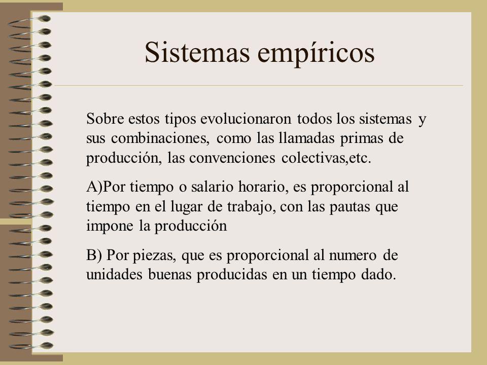 Sistemas empíricos Sobre estos tipos evolucionaron todos los sistemas y sus combinaciones, como las llamadas primas de producción, las convenciones colectivas,etc.