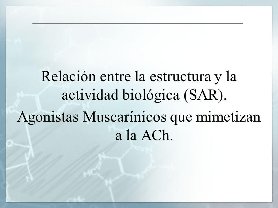 Relación entre la estructura y la actividad biológica (SAR). Agonistas Muscarínicos que mimetizan a la ACh.