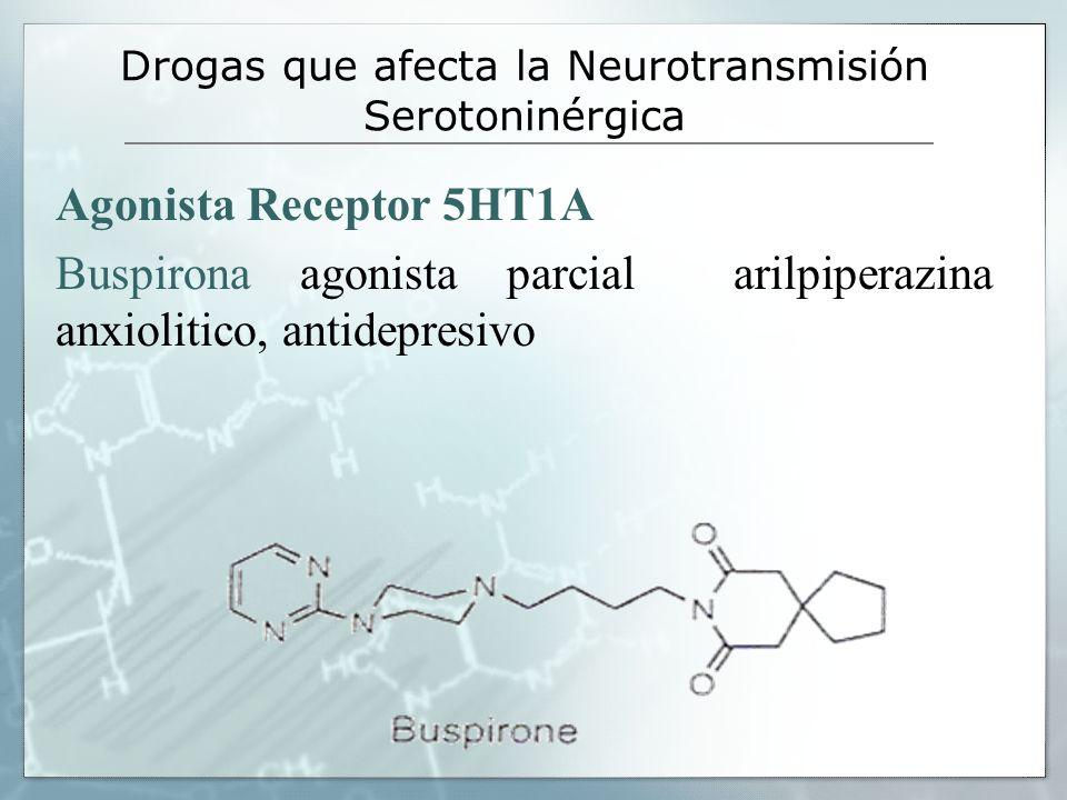 Drogas que afecta la Neurotransmisión Serotoninérgica Agonista Receptor 5HT1A Buspirona agonista parcial arilpiperazina anxiolitico, antidepresivo