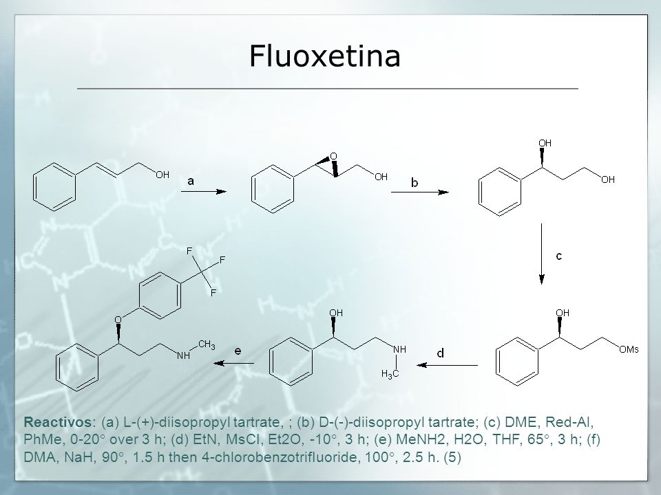 Fluoxetina Reactivos: (a) L-(+)-diisopropyl tartrate, ; (b) D-(-)-diisopropyl tartrate; (c) DME, Red-Al, PhMe, 0-20° over 3 h; (d) EtN, MsCI, Et2O, -1