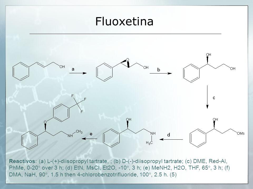Fluoxetina Reactivos: (a) L-(+)-diisopropyl tartrate, ; (b) D-(-)-diisopropyl tartrate; (c) DME, Red-Al, PhMe, 0-20° over 3 h; (d) EtN, MsCI, Et2O, -1