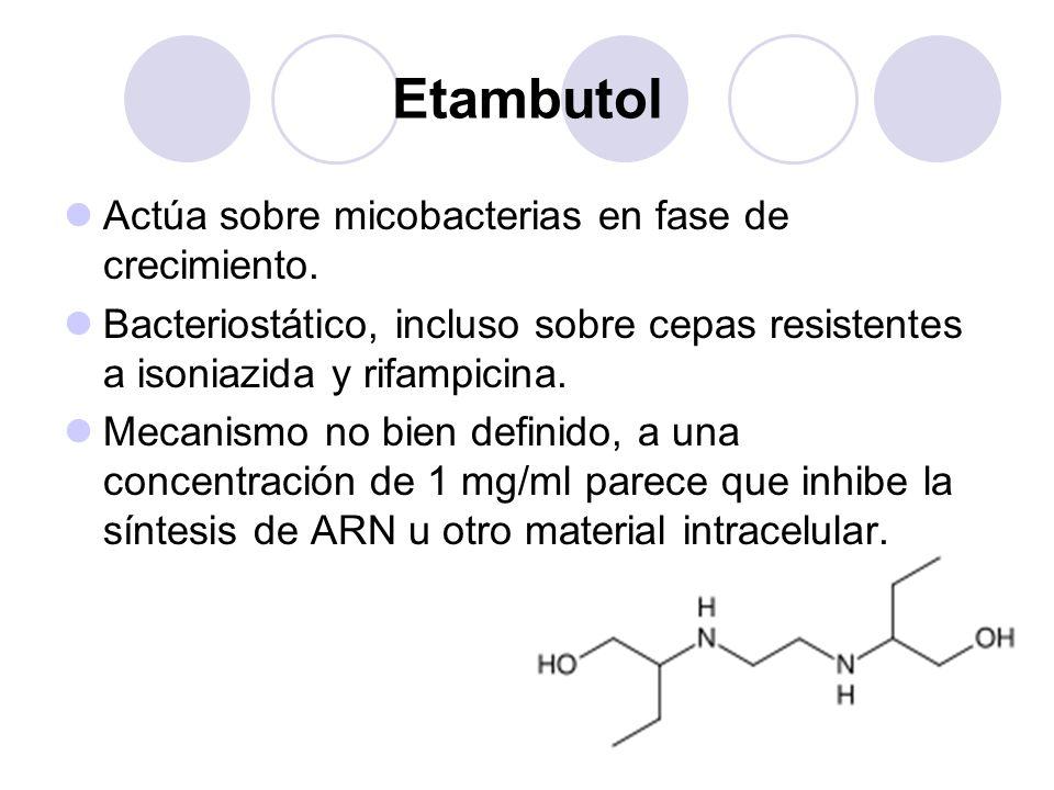 Etambutol Actúa sobre micobacterias en fase de crecimiento. Bacteriostático, incluso sobre cepas resistentes a isoniazida y rifampicina. Mecanismo no