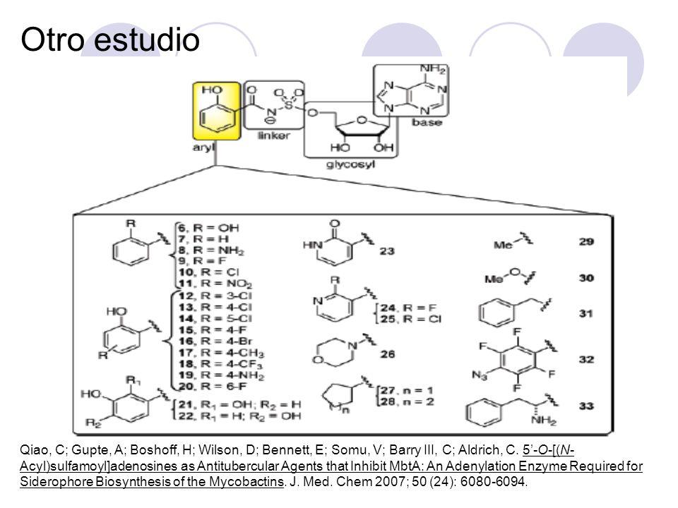 Otro estudio Qiao, C; Gupte, A; Boshoff, H; Wilson, D; Bennett, E; Somu, V; Barry III, C; Aldrich, C. 5-O-[(N- Acyl)sulfamoyl]adenosines as Antituberc