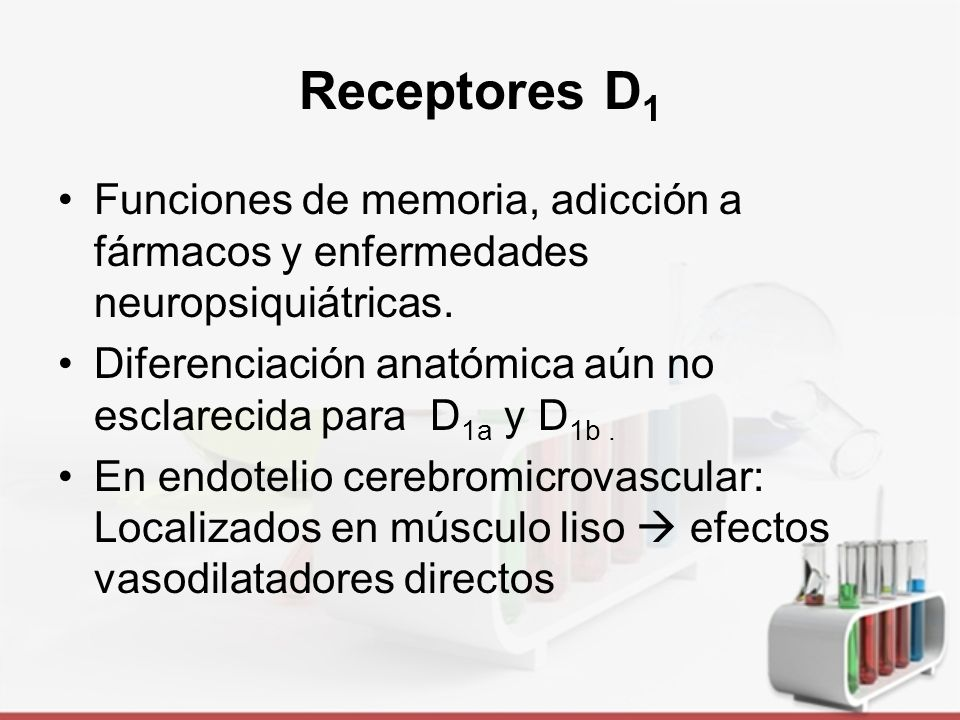 Receptores D 1 Tomado de: http://www.nature.com/npp/journal/v33/n1/images/1301544f1.jpg