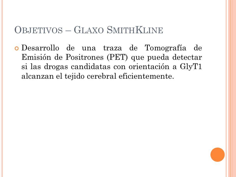 O BJETIVOS – G LAXO S MITH K LINE Desarrollo de una traza de Tomografía de Emisión de Positrones (PET) que pueda detectar si las drogas candidatas con orientación a GlyT1 alcanzan el tejido cerebral eficientemente.
