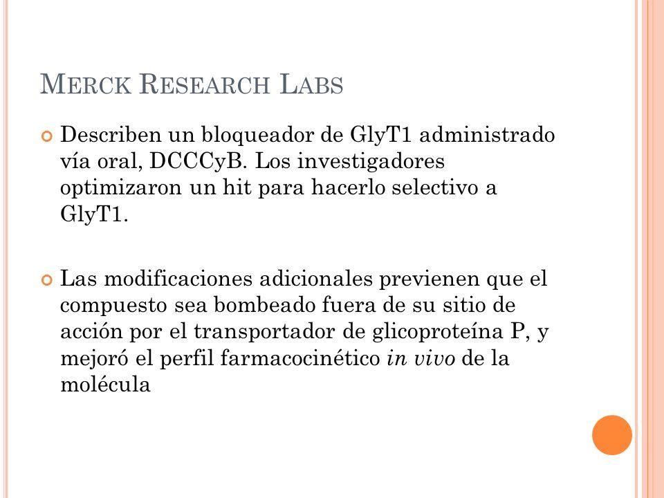 M ERCK R ESEARCH L ABS Describen un bloqueador de GlyT1 administrado vía oral, DCCCyB. Los investigadores optimizaron un hit para hacerlo selectivo a