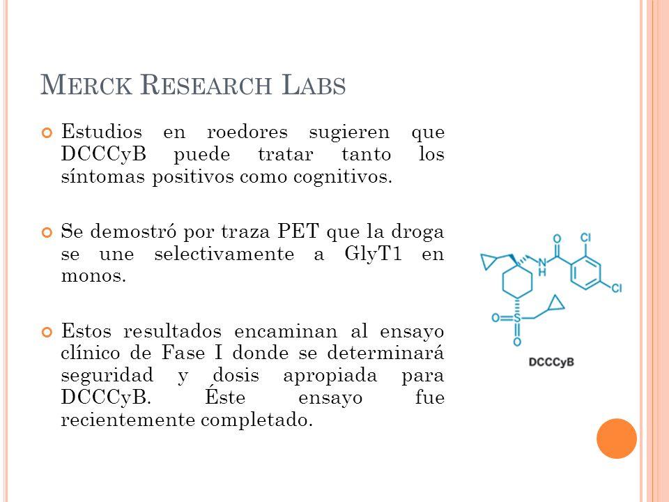 M ERCK R ESEARCH L ABS Estudios en roedores sugieren que DCCCyB puede tratar tanto los síntomas positivos como cognitivos. Se demostró por traza PET q