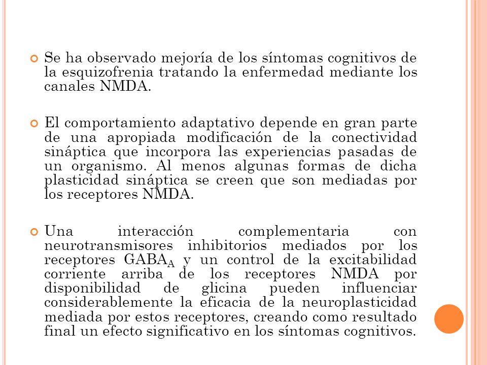 Se ha observado mejoría de los síntomas cognitivos de la esquizofrenia tratando la enfermedad mediante los canales NMDA.