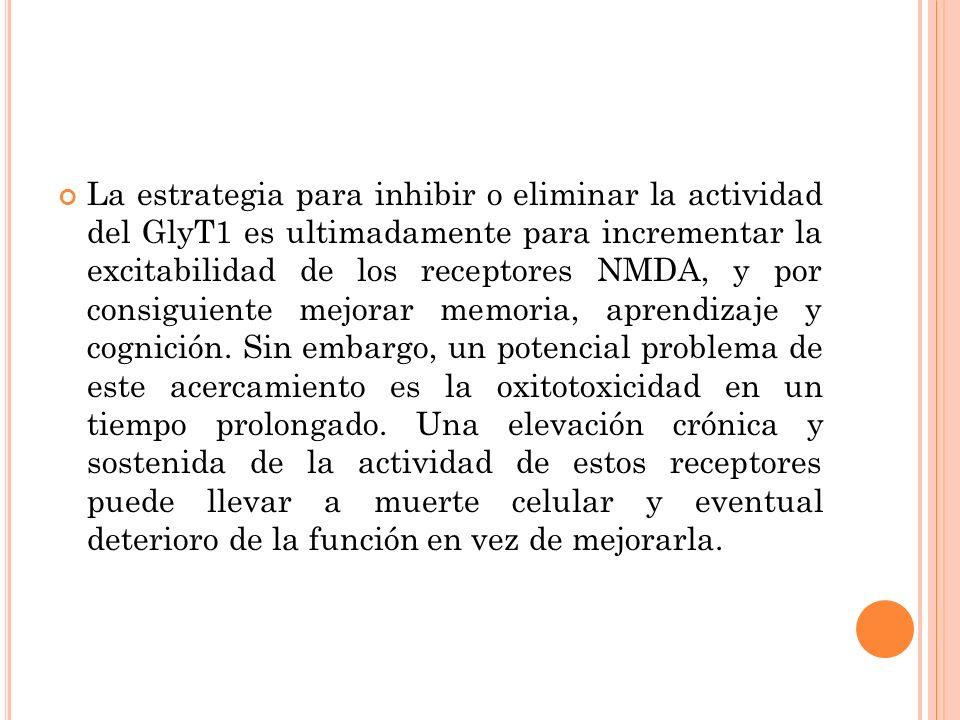 La estrategia para inhibir o eliminar la actividad del GlyT1 es ultimadamente para incrementar la excitabilidad de los receptores NMDA, y por consigui