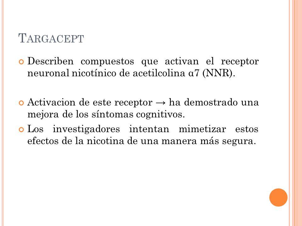 T ARGACEPT Describen compuestos que activan el receptor neuronal nicotínico de acetilcolina α7 (NNR). Activacion de este receptor ha demostrado una me