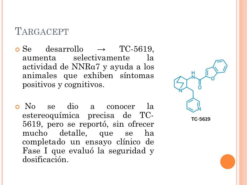 T ARGACEPT Se desarrollo TC-5619, aumenta selectivamente la actividad de NNRα7 y ayuda a los animales que exhiben síntomas positivos y cognitivos. No
