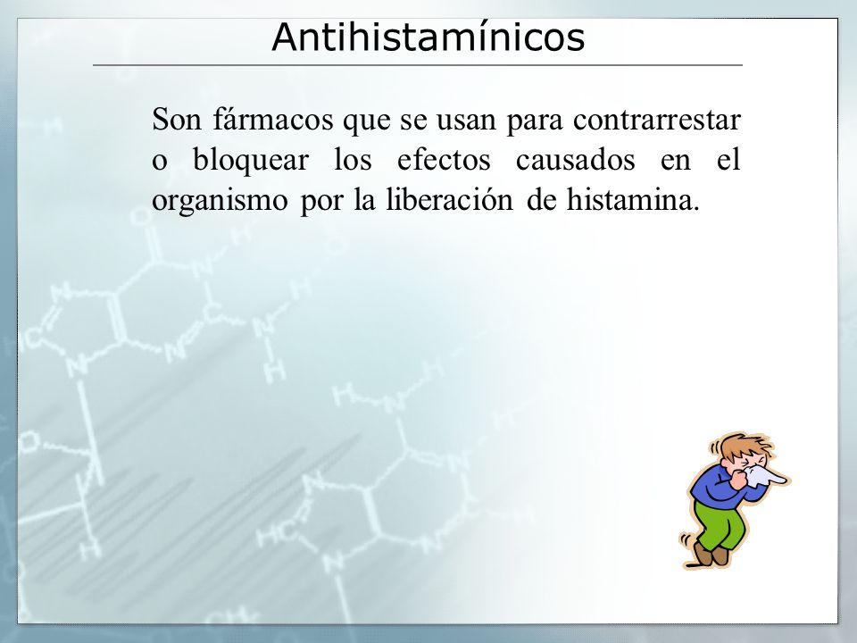 Antihistamínicos La acción antiemética de muchos antihistamínicos (difenhidramina, dimenhidrinato, fenotiacinas) se deben en gran parte a sus propiedades sedantes y anticolinérgicas centrales difenhidraminadimenhidrinato