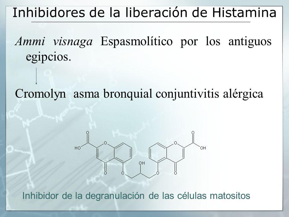 Inhibidores de la liberación de Histamina Ammi visnaga Espasmolítico por los antiguos egipcios. Cromolyn asma bronquial conjuntivitis alérgica Inhibid