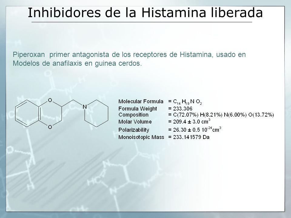 Inhibidores de la Histamina liberada Piperoxan primer antagonista de los receptores de Histamina, usado en Modelos de anafilaxis en guinea cerdos.