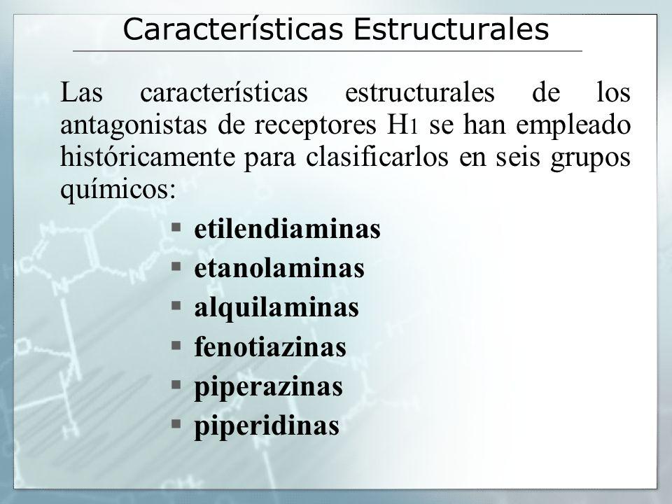 Características Estructurales Las características estructurales de los antagonistas de receptores H 1 se han empleado históricamente para clasificarlos en seis grupos químicos: etilendiaminas etanolaminas alquilaminas fenotiazinas piperazinas piperidinas