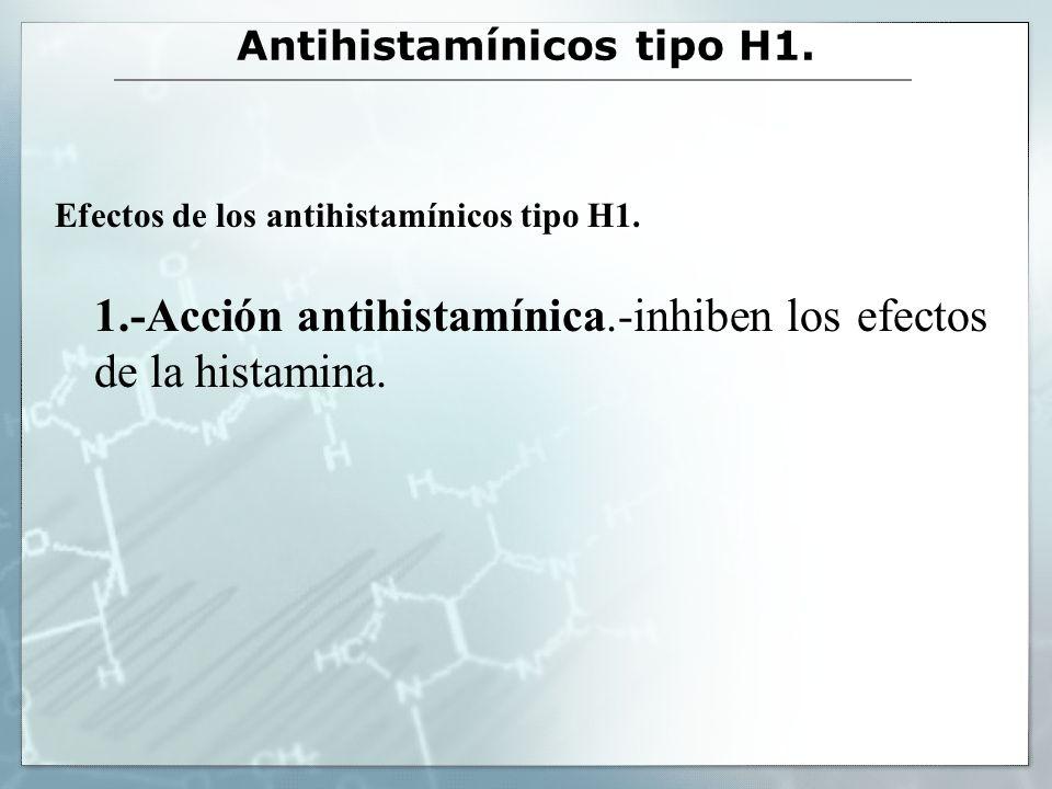 Antihistamínicos tipo H1. Efectos de los antihistamínicos tipo H1. 1.-Acción antihistamínica.-inhiben los efectos de la histamina.