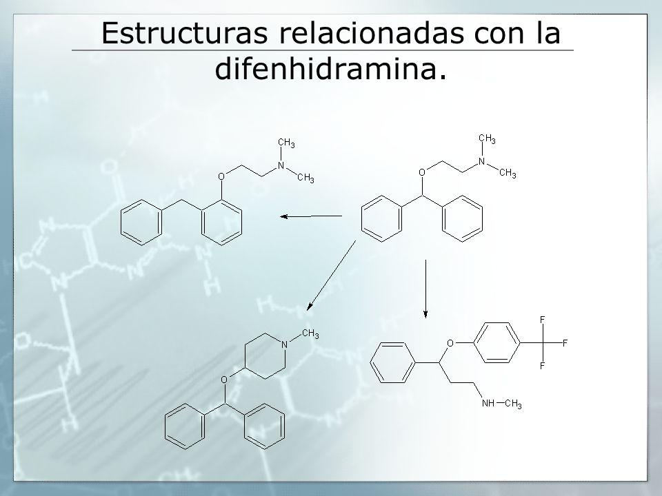 Estructuras relacionadas con la difenhidramina.