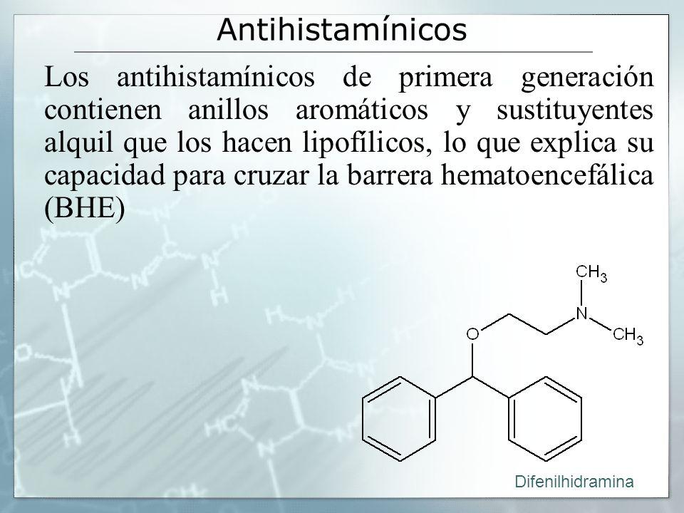 Antihistamínicos Los antihistamínicos de primera generación contienen anillos aromáticos y sustituyentes alquil que los hacen lipofílicos, lo que explica su capacidad para cruzar la barrera hematoencefálica (BHE) Difenilhidramina