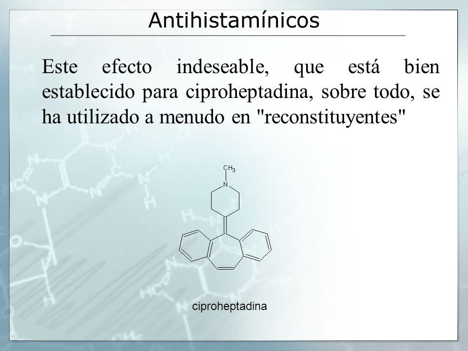 Antihistamínicos Este efecto indeseable, que está bien establecido para ciproheptadina, sobre todo, se ha utilizado a menudo en