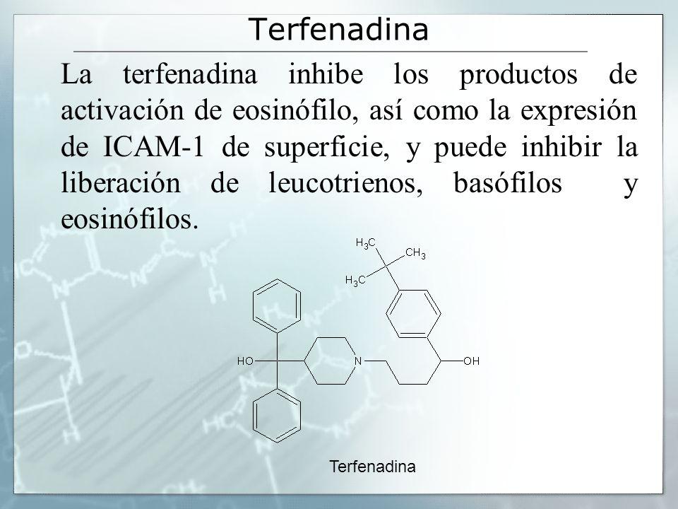 Terfenadina La terfenadina inhibe los productos de activación de eosinófilo, así como la expresión de ICAM-1 de superficie, y puede inhibir la liberación de leucotrienos, basófilos y eosinófilos.