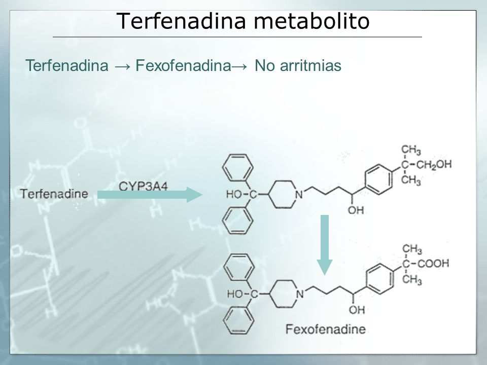 Terfenadina metabolito Terfenadina Fexofenadina No arritmias